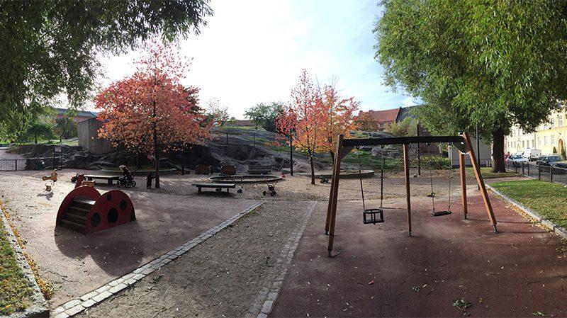 Vår favoritlekpark. I lekparken kan man gunga, rutscha och leka i sandlådan.